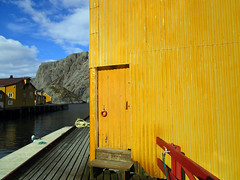 (SofiDofi) Tags: red sunlight yellow norway buildings outdoors evening harbor norge colorful pretty village sunny april lovely quaint stroll lofoten nordnorge fishingvillage lovelyday iloveithere nordland flakstad nusfjord spring2016 ninemonthsupnorth ninemonthsinthenorth