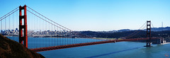 Golden gate bridge panorama (My Wave Pictures) Tags: ocean california city travel bridge blue red sea sky urban panorama usa color tourism water skyline architecture america golden bay gate san francisco cityscape pacific landmark tourist structure historic historical attraction
