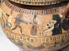 IMG_1949 (jaglazier) Tags: usa men art chickens archaeology birds animals boston painting skulls greek landscapes women unitedstates drawing crafts massachusetts transport corinth beards troy greece barefoot legends april arrows pottery corinthian meander heroes skeletons museums adults roosters bows bearded museumoffinearts dinosaurs weapons vases reptiles myths archaic mythical krater 2016 herakles griffins chariots egganddart 43016 hesione classicalarchaeology kraters copyright2016jamesaglazier