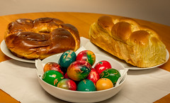 Easter Eggs and brioche (Bandit Photography Pudsey) Tags: food color colour easter candy bright traditional religion indoor holy eggs tradition bulgarian