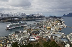 lesund (dilys_thompson) Tags: cruise snow mountains norway landscape ship view lesund fjiords
