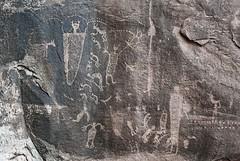 Petroglyphs at Seven Mile Canyon (Ron Wolf) Tags: archaeology utah panel fremont nativeamerican dots petroglyph kokopelli anthropology rockart headdress zoomorph anthropomorph anthromorph digitated