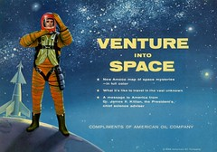 Venture into Space (Alan Mays) Tags: ephemera maps foldedmaps charts advertising advertisements ads paper printed amocomapofspacemysteries ventureintospace americanoilcompany amoco gas gasoline companies spacemysteries space mysteries ventures outerspace astronauts spacesuits helmets spaceships rockets planets earth stars folded illustrations blue red yellow 1958 1950s old vintage typefaces type typography fonts petroliana