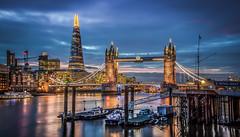 London Calling (2) (aurlien.leroch) Tags: uk longexposure england london night towerbridge nikon europe cityscape londres bluehour shard d3000