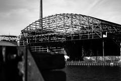 Osmohallen | Mnster (_dankhn) Tags: chimney urban bw water monochrome port buildings germany deutschland blackwhite wasser industrial factory nrw sw monochrom hafen gebude schornstein nordrheinwestfalen mnster stadthafen northrhinewestphalia dortmundemskanal schwarzweis cityport osmohallen