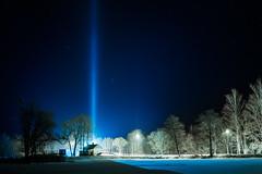 Rare light pillars (www.raivisphoto.com) Tags: winter light sky cold ice night river stars outdoors freezing latvia pillars rare phenomenon