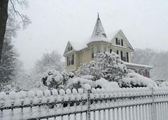Castle during a Blizzard (KoolPix) Tags: turret castle victorianhouse house snow snowing snowstorm fence koolpix jaydiaz weather blizzard home