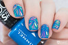 Shattered glass nails (www.lacqueredobsession.com) Tags: blue art design foil nail polish iridescent bps rimmel