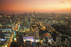 Bangkok at Sunset (SedatPhotography) Tags: city travel sunset red sky holiday fish eye tower canon landscape thailand lights high amazing view angle bangkok wide 16 35 f4 citycape phototgraphy