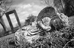 Lay Me Down to Sleep (drei88) Tags: life monument cemetery angel reflections death sad fallen bleak angelic toppled hiram forlorn fairviewcemetery morunful