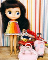 not gonna fit (endangeredsissy) Tags: rainbow handmade kitsch blythe brunette bigeye blythedoll vintagedoll kennerblythe 7lines endangeredsissy
