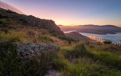 Lyttelton Port (DanielBartolo) Tags: morning newzealand mountain sunrise stars landscape rocks foggy hills gondola goldenhour porthills chrischurch purenewzealand danielbartolo