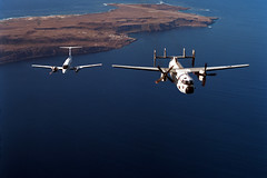 C-2A Greyhound and C-12 Huron (skyhawkpc) Tags: greyhound airplane inflight aircraft aviation 1996 navy naval usnavy usn huron beech grumman c12 c2a sanclementeisland nf21 nalf dvic 162176 vrc30providers officialusnavy
