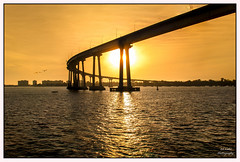 """ Silhouette on Gold"" (efiske) Tags: california bridge sunset sandiego goldensunset coronadobridge goldenglow"
