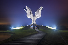 Jasenovac Memorial (Stone Flower), Croatia (inhiu) Tags: lightpainting abandoned monument night nikon ruins military croatia urbanexploration memory yugoslavia ruined urbex stoneflower yugoslavian inhiu longexposureeasteurope illusioninruins jasenovacmemorial
