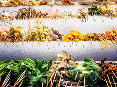 Satay selection (whitworth images) Tags: city urban food ice vegetables mushrooms asia chinatown raw display stall bamboo malaysia seafood kualalumpur variety satay malaysian streetfood skewers bokchoy wilayahpersekutuan jalanalor