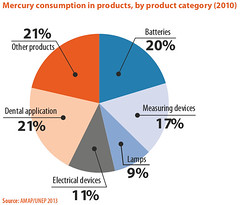 Mercury consumption in products, by product category (2010) (Zoi Environment Network) Tags: chart industry lamp field graphic mercury teeth battery graph device dental application part diagram use data amalgam material proportion electronic product electrical share consumption statistic measuring piechart percentage fabrication