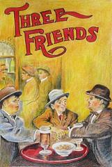 trois frères: pour le groupe rando croqueur, exercice du mois de mars 2016 (geneterre69) Tags: café personnages crayonsdecouleurs affichedefilm dominantejaune débutdu20°siècle