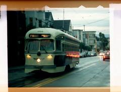 F Market (troutfactory) Tags: sanfrancisco 2001 classic film vintage trolley archive sanfranciscobayarea analogue streetcar fmarket 110film minolta110slr kodak110