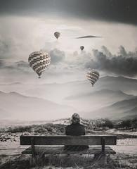 Daydream (dob_bee) Tags: people photomanipulation photoshop vintage heaven baloon himmel bank berge sonnenaufgang balon heisluftbalon vertrumt trumen tagtraum