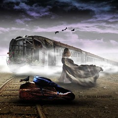 This is not the last train to happiness (Silvia Andreasi (Images Beyond Mirror)) Tags: travel woman birds misty clouds train photomanipulation waiting dress dove digitalart surreal luggage trail fabric squareformat imagination dreamscape storytelling photoillustration fineartphotography musicalinstruments mistiness herojourney imagesbeyondmirror silviaandreasi