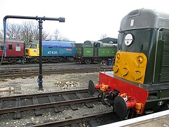 D8059 (20059), 1744 & 47635 Jimmy Milne line up at North Weald, EOR Epping Ongar Railway Diesel Gala 23.04.16 (Trevor Bruford) Tags: green english heritage electric logo chopper br tank diesel jimmy north large engine rail railway somerset class steam severn company highland valley dorset gala gnr ee epping milne svr sulzer n2 weald 1744 ongar eor 20059 sdlc 47029 062t 47635 d1606 d8059