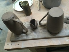 Large mug and small pitcher (Beerdedbiker) Tags: maple handmade cream clay mug pottery maplesyrup pitcher stoneware potterywheel handthrown creampitcher