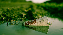 Le Roi est Mort (iratebadger) Tags: cup water 35mm puddle iso100 countryside nikon focus dof drink fastfood outoffocus depthoffield litter burgerking nikkor countrylane splittone d7100 nikond7100 iratebadger