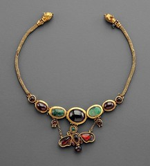 Hellenistic Gold, Garnet and Emerald Butterfly Necklace, 2nd Century BC The butterfly is by no means simply a decorative motif, but a symbol of eternal love. (mike catalonian) Tags: necklace jewelry ancientgreece hellenisticperiod