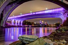 Under the Purple Bridge (Greg Lundgren Photography) Tags: sunset urban reflection skyline night cityscape purple minneapolis prince mississippiriver twincities 35w greglundgren