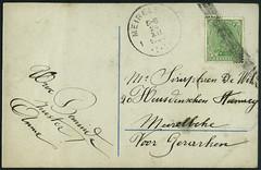 Archiv E085 Weihnachtskarte (back), Belgien, Merelbeke, Ostflandern, 24. Dezember 1920 (Hans-Michael Tappen) Tags: 1920s stamps belgien briefmarke merelbeke poststempel 1920er ostflandern archivhansmichaeltappen voorgerarken