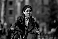 I'll Be On Time (MarkL87) Tags: nyc newyorkcity bw woman streets bike manhattan streetphotography