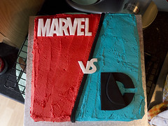 Cut outs from above (Theweird1ne) Tags: blue red white black cake dc comic spiderman ironman superman comicbook superhero batman icing thor marvel captainamerica dairyfree