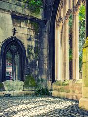 Ruins of St Dunstans in the East Church ( City of London) (Cross Process Effect) (Fujfilm  X70 Compact) (markdbaynham) Tags: city uk london church st prime fuji cross 28mm capital ruin gb process fujinon f28 compact x70 dunstans londoner londonist fujix transx