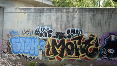 STAX MOFOE ART96 STEPDAD (beengraffin) Tags: art up yard flow graffiti pieces sandiego tunnel before pit here been step piece pitt throw stepdad floater stax throwie throwy bhb mofoe stepd