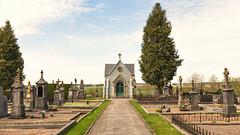 Cemetery chapel (Lux Obscura) Tags: cemetery 35mm point alley belgium vertigo chapel graves vanishing neufchateau