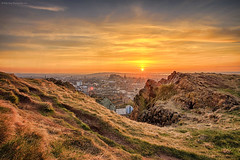 Sunset from the Crags, Edinburgh (Rework) (MilesGrayPhotography (AnimalsBeforeHumans)) Tags: city uk sunset sky castle sunshine skyline architecture canon landscape outdoors photography eos volcano golden evening scotland town photo spring twilight rocks edinburgh europe glow cityscape village nightscape edinburghcastle britain dusk scenic historic nd usm volcanic iconic historicscotland ef 1740mm canonef1740mmf4lusm firthofforth 6d f4l auldreekie nighfall hsm canon6d