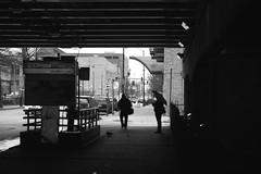 At the subway (forzarwe) Tags: street shadow usa chicago station america subway blackwhite illinois cta blueline metro pentax clinton streetphotography unionstation amerika k5ii