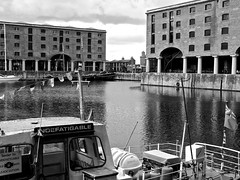 Indefatigable (Jonas Arista) Tags: england blackandwhite water monochrome liverpool dock ship waterfront albertdock portcity indefatigable