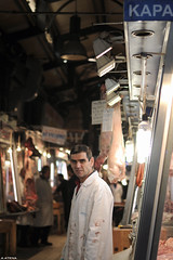 (A.Atena) Tags: red portrait man person 50mm lights nikon europe market lightbulbs athens meat greece meatmarket d5000