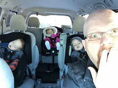 Small Miracles (Sean Maynard) Tags: sleeping children dad miracle sienna toyota surprised triplets minivan toddlers carseats shocked selfie