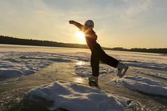 Skating on ice (Anders Sellin) Tags: winter sunset lake snow ice is vinter sweden outdoor skating skate sverige sn tena sj skridsko skridskor solnegng