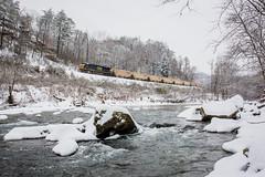 Snowy Clear Fork (Peyton Gupton) Tags: railroad snow train river frozen snowy tennessee rail morley csx habersham holton jellico csxt chaska