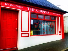 My Valentine's poem .... (JulieK (had forgotten what hard work puppies are)) Tags: door ireland red irish food reflection window sign advertising heart outdoor cork takeaway chipper hdr valentinesday chipshop hss redhearts iphone5 knocknagree sliderssunday 2016onephotoeachday