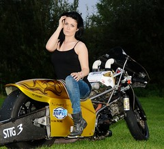 Holly W_7027 (Fast an' Bulbous) Tags: santa woman hot sexy girl bike race speed drag golden pod nikon power boots gimp fast babe chick strip hour motorcycle biker suzuki brunette d7100