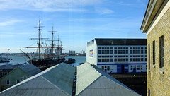Towards HMS Warrior (Claire_Sambrook) Tags: view portsmouth dockyard hmswarrior boathouse4