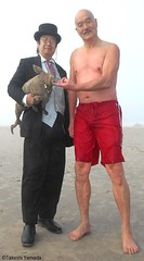 Dr. Takeshi Yamada and Seara (Coney Island Sea Rabbit) at the winter swimming event by the Coney Island Polar Bear Club at the Coney Island Beach in Brooklyn, New York on January 10 (Sun), 2015.  20160110Sun DSCN3345=5040pC2. Iwasaki-san (searabbits23) Tags: winter ny newyork sexy celebrity art beach fashion animal brooklyn asian coneyisland japanese star yahoo costume tv google king artist dragon god cosplay manhattan wildlife famous gothic goth performance pop taxidermy cnn tuxedo bikini tophat unitednations playboy entertainer samurai genius donaldtrump mermaid amc mardigras salvadordali billclinton hillaryclinton billgates aol vangogh curiosities bing sideshow jeffkoons globalwarming takashimurakami pablopicasso steampunk damienhirst cryptozoology freakshow barackobama polarbearclub seara immortalized takeshiyamada museumofworldwonders roguetaxidermy searabbit ladygaga climategate