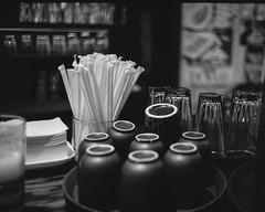 (Mattron) Tags: leica blackandwhite bw film analog 35mm restaurant diy rangefinder d76 cups apx100 agfa m6 placesetting straws handprocessed filmisnotdead