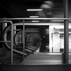 Rush (akarakoc) Tags: light white black lines fuji elevator rush hour fujifilm x100t