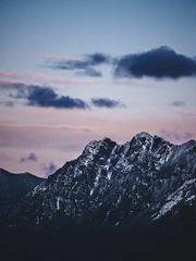 Crags (self.defenestration) Tags: pink sunset sky mountain clouds contrast landscape washington adams northwest sharp ridge cascades pnw ansel